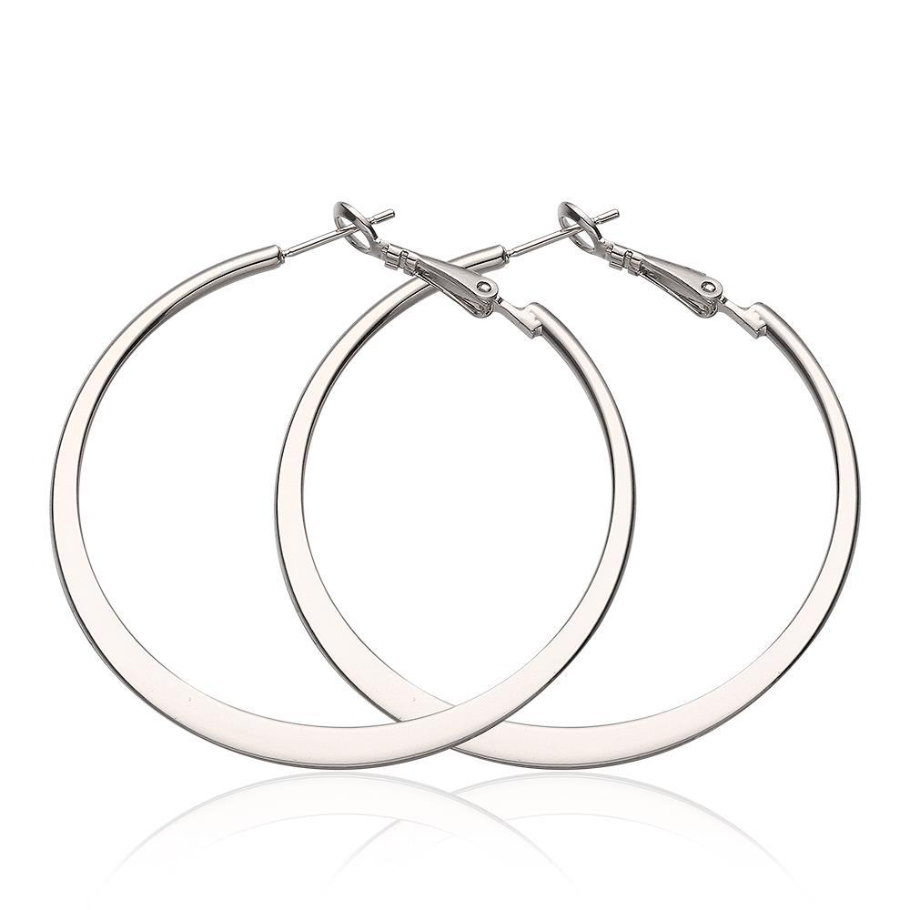 Vienna Jewelry 18K White Gold Classic New York Hoop Earrings Made with Swarovksi Elements