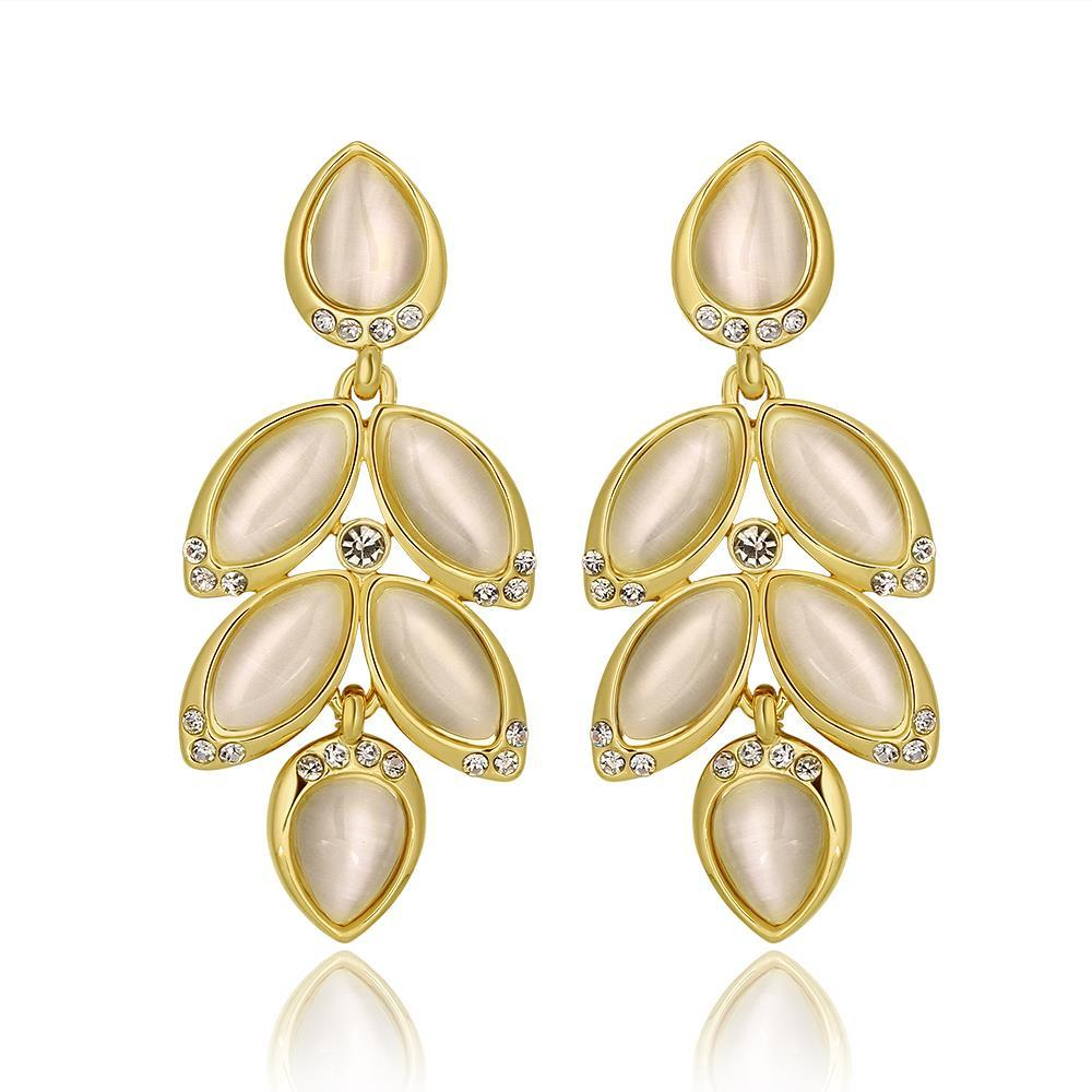Vienna Jewelry 18K Gold Dangling Rose Petals Drop Down Earrings Made with Swarovksi Elements