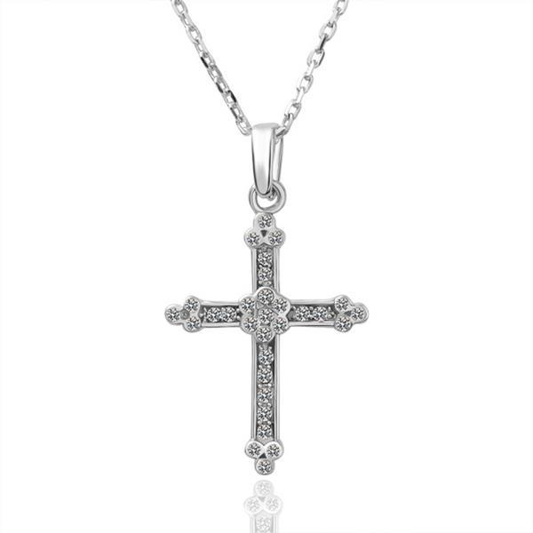 Vienna Jewelry White Gold Plated Classic Cross Shaped Necklace