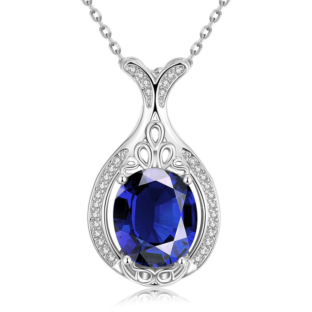 Vienna Jewelry White Gold Plated Milan Inspired Saphire Gem Necklace