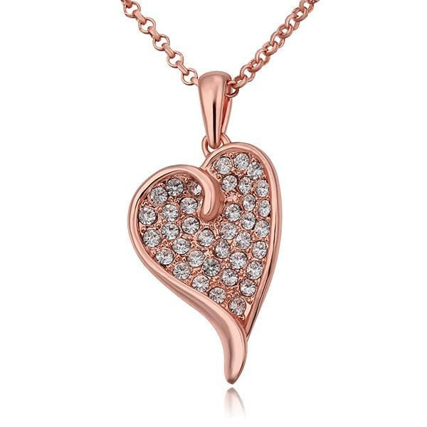 Vienna Jewelry Rose Gold Plated Curved Heart Shaped Necklace