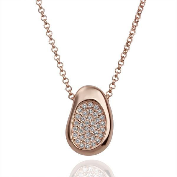 Vienna Jewelry Rose Gold Plated Petite Bean Necklace with Jewel Covering