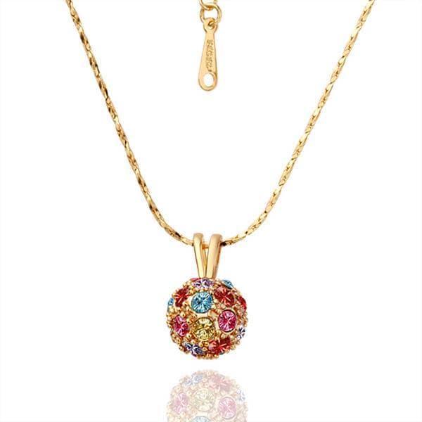Vienna Jewelry Gold Plated Rainbow Pav'e Crystal Necklace
