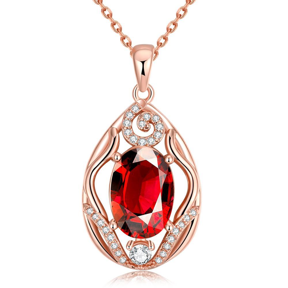 Vienna Jewelry Rose Gold Plated Classic London Ruby Necklace