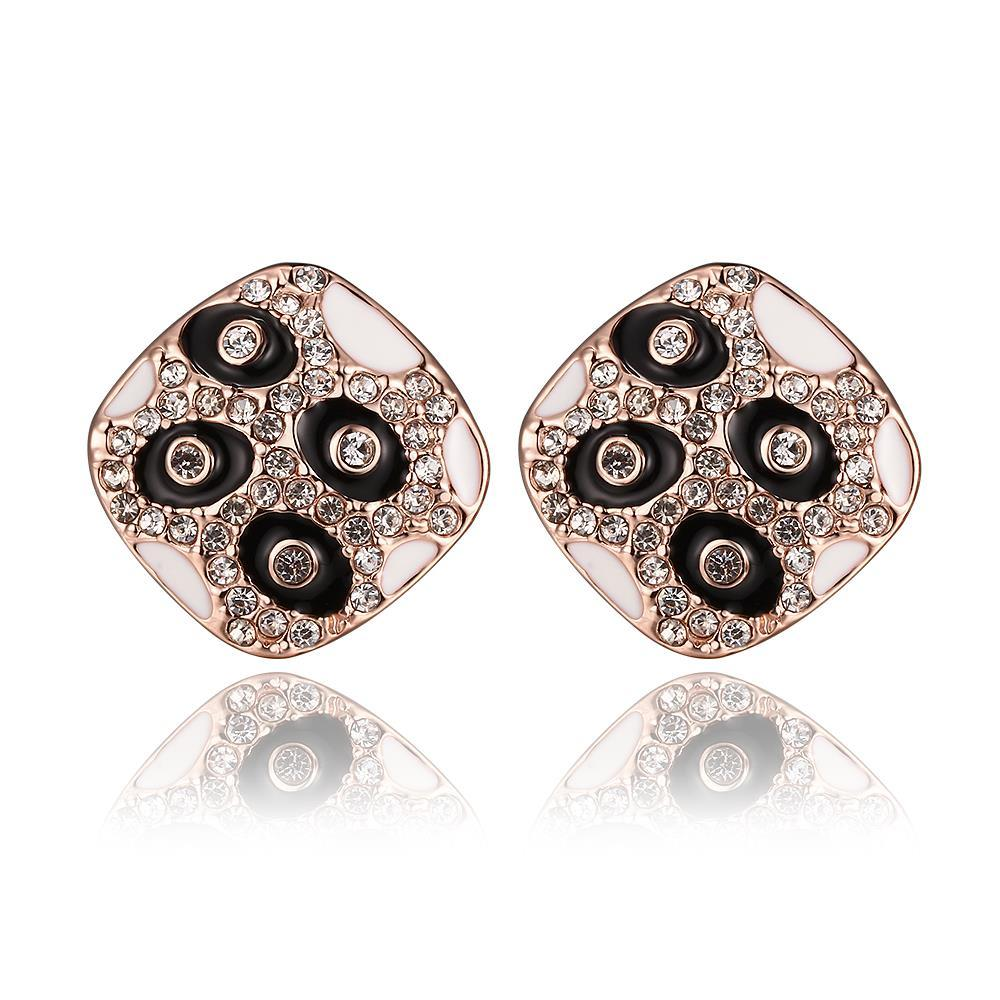 Vienna Jewelry 18K Rose Gold Petite Stud Earrings with Onyx Gems Made with Swarovksi Elements