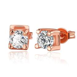 Vienna Jewelry 18K Rose Gold Classic Stud Earrings with Crystal Gem Made with Swarovksi Elements - Thumbnail 0
