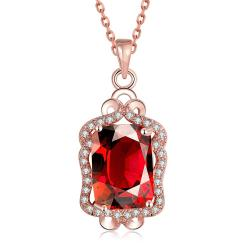 Vienna Jewelry Rose Gold Plated Square Ruby Necklace - Thumbnail 0