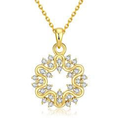 Vienna Jewelry Gold Plated Circular Emblem Necklace - Thumbnail 0