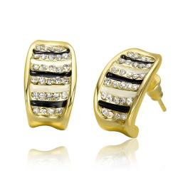 Vienna Jewelry 18K Gold Stud Earrings with Ivory & Onyx Lining Made with Swarovksi Elements - Thumbnail 0