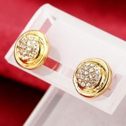 Vienna Jewelry 18K Gold Classic Petite Stud Earrings Made with Swarovksi Elements - Thumbnail 0