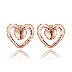 Vienna Jewelry 18K Rose Gold Petite Heart Shaped Stud Earrings Made with Swarovksi Elements - Thumbnail 0