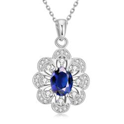 Vienna Jewelry White Gold Plated Circular Saphire Necklace - Thumbnail 0