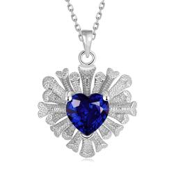 Vienna Jewelry White Gold Plated Overlayering Heart Necklace - Thumbnail 0