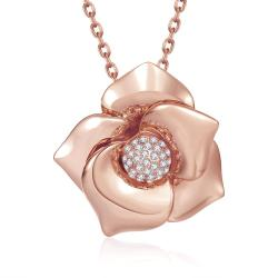 Vienna Jewelry Rose Gold Plated Blossoming Floral Necklace - Thumbnail 0