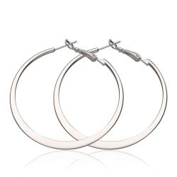 Vienna Jewelry 18K White Gold Classic New York Hoop Earrings Made with Swarovksi Elements - Thumbnail 0