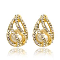 Vienna Jewelry 18K Gold Hollow Emblem Stud Earrings Made with Swarovksi Elements - Thumbnail 0