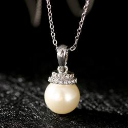 Vienna Jewelry White Gold Plated Chandelier Pearl Drop Necklace - Thumbnail 0
