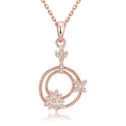 Vienna Jewelry Rose Gold Plated Petite Snowflakes Necklace - Thumbnail 0