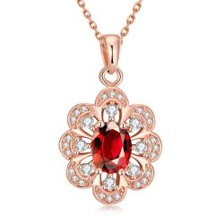 Vienna Jewelry Rose Gold Plated Circular Ruby Necklace - Thumbnail 0