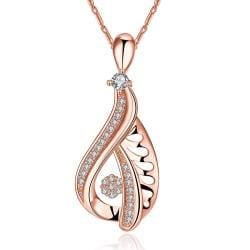 Vienna Jewelry Rose Gold Plated Hollow Curved Classic Necklace - Thumbnail 0