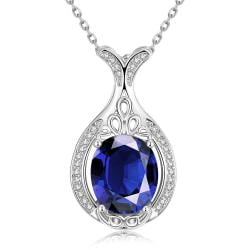 Vienna Jewelry White Gold Plated Milan Inspired Saphire Gem Necklace - Thumbnail 0