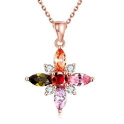 Vienna Jewelry Rose Gold Plated Rainbow Crystals Necklace - Thumbnail 0