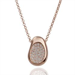 Vienna Jewelry Rose Gold Plated Petite Bean Necklace with Jewel Covering - Thumbnail 0