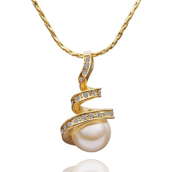 Vienna Jewelry Gold Plated Spiral Pearl Dangling Necklace