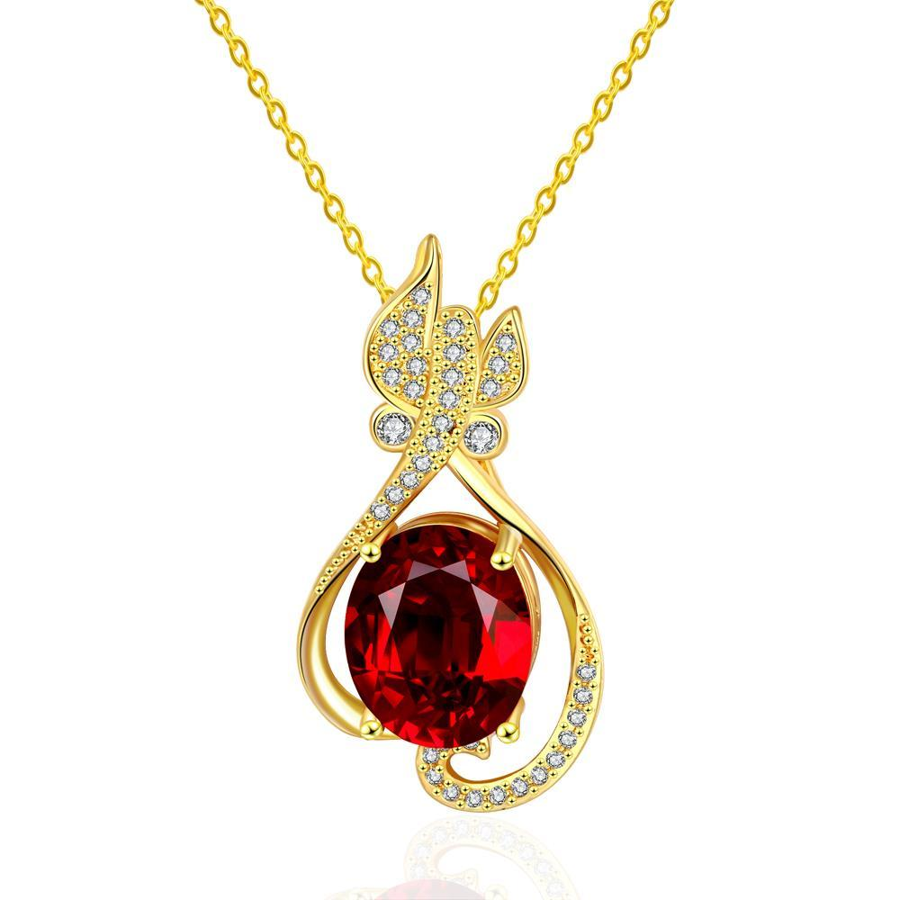 Vienna Jewelry Gold Plated Petite Butterfly Ruby Necklace