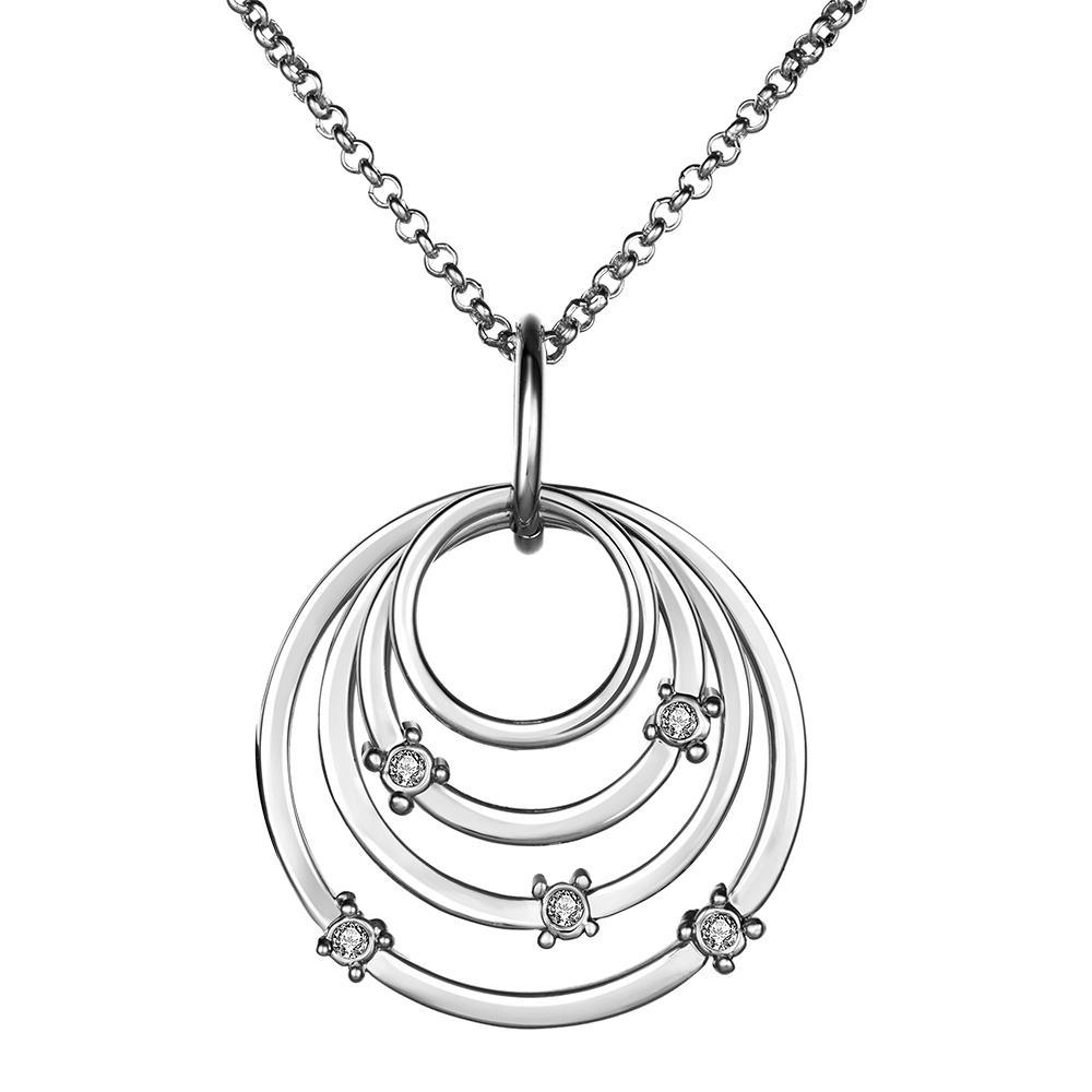 Vienna Jewelry White Gold Plated Trio-Sprial Emblem Necklace