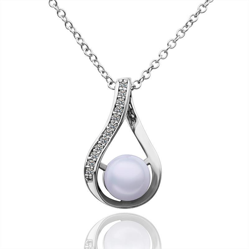 Vienna Jewelry White Gold Plated Curved Triangular Pearl Necklace