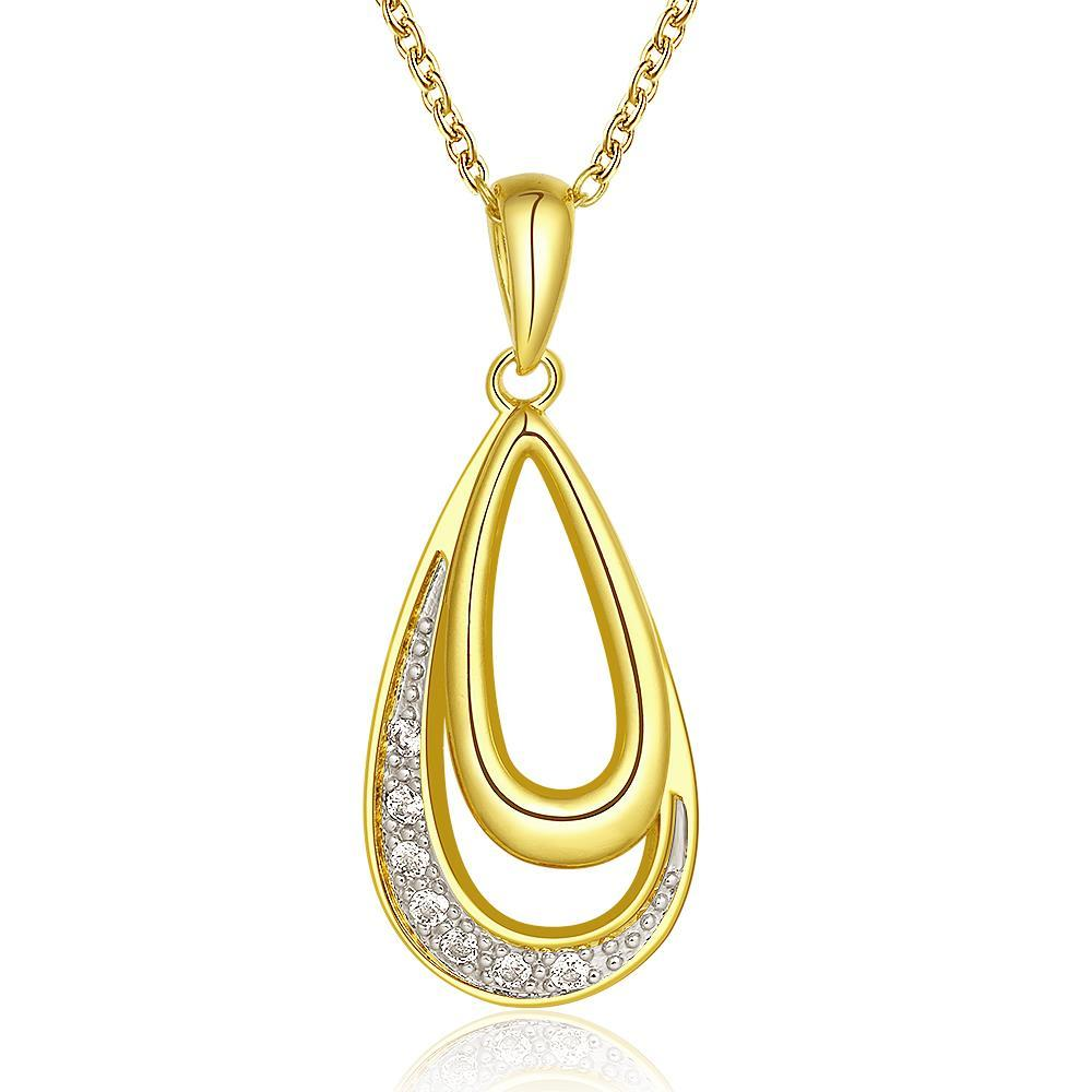 Vienna Jewelry Gold Plated Hollow Emblem Crystal Necklace