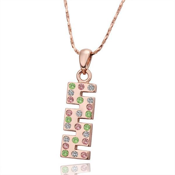 Vienna Jewelry Rose Gold Plated Rainbow Jewels Horizontal Cut Necklace