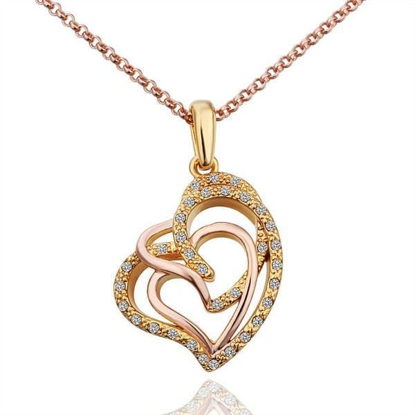 Vienna Jewelry Gold Plated Interlocked Hearts Necklace