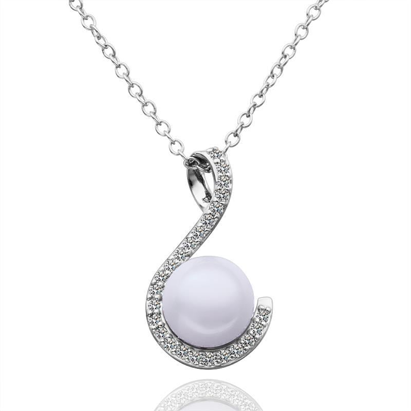 Vienna Jewelry White Gold Plated Curved Pearl Lining Necklace