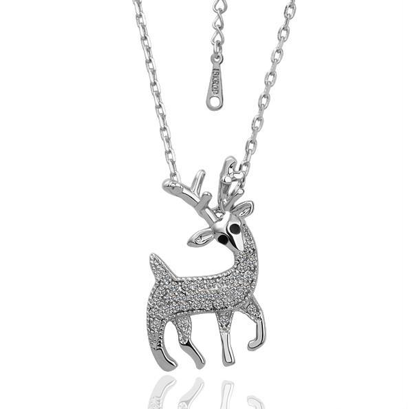 Vienna Jewelry White Gold Plated Reindeer Shaped Emblem Necklace