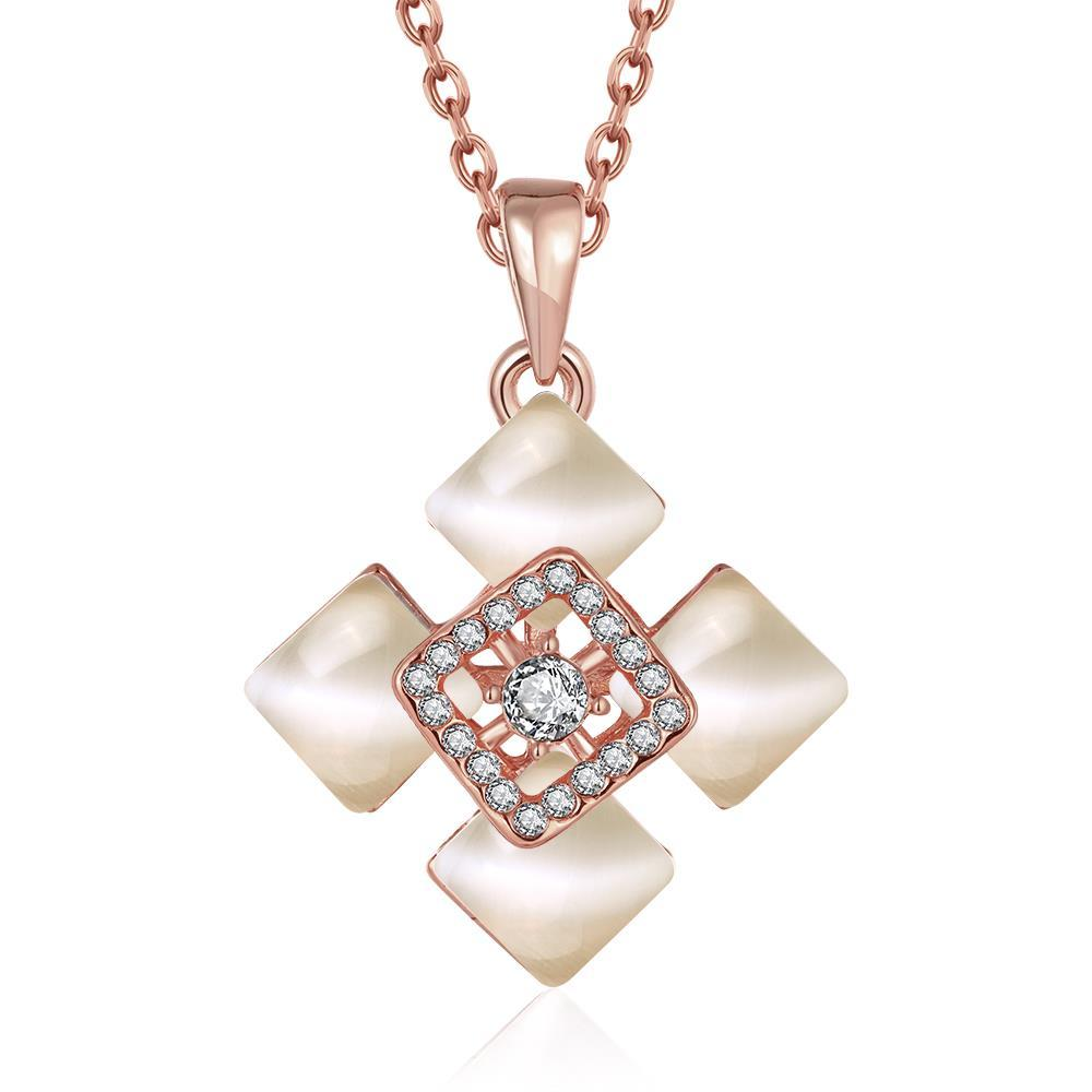 Vienna Jewelry Rose Gold Plated Quad Diamond Ivory Necklace