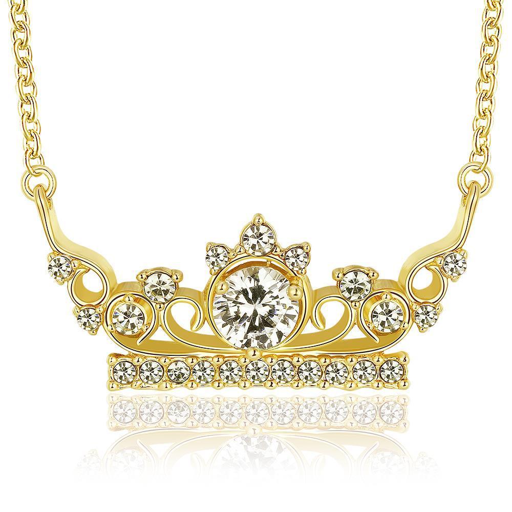 Vienna Jewelry Gold Plated Jewel Princess Tiara Necklace