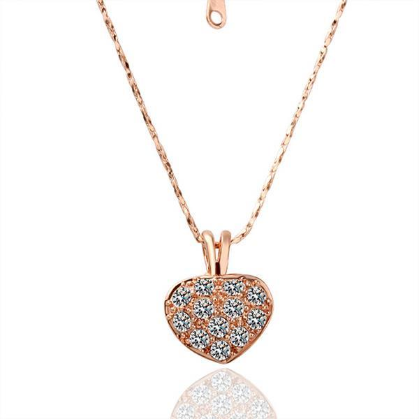 Vienna Jewelry Petite Sized Heart Shaped Crystal Covering Necklace