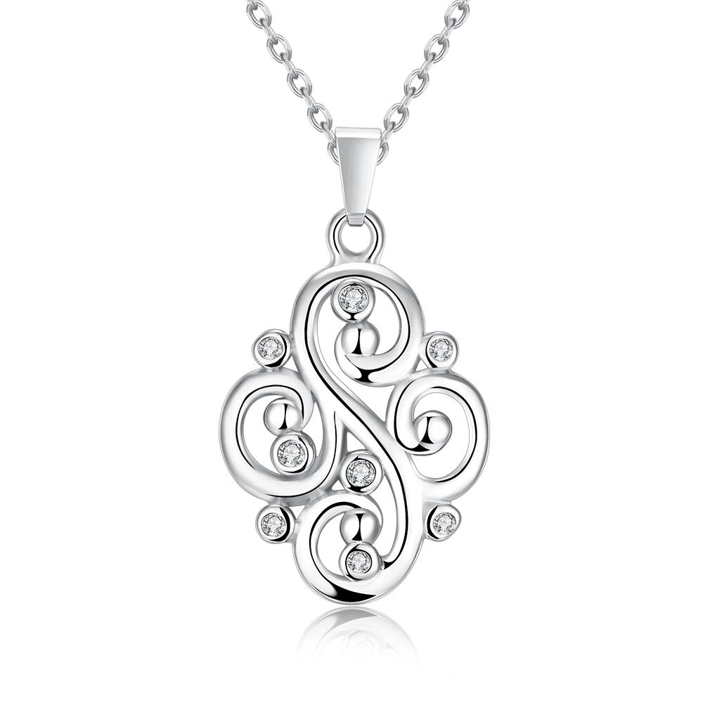Vienna Jewelry White Gold Plated Curved Iron Necklace