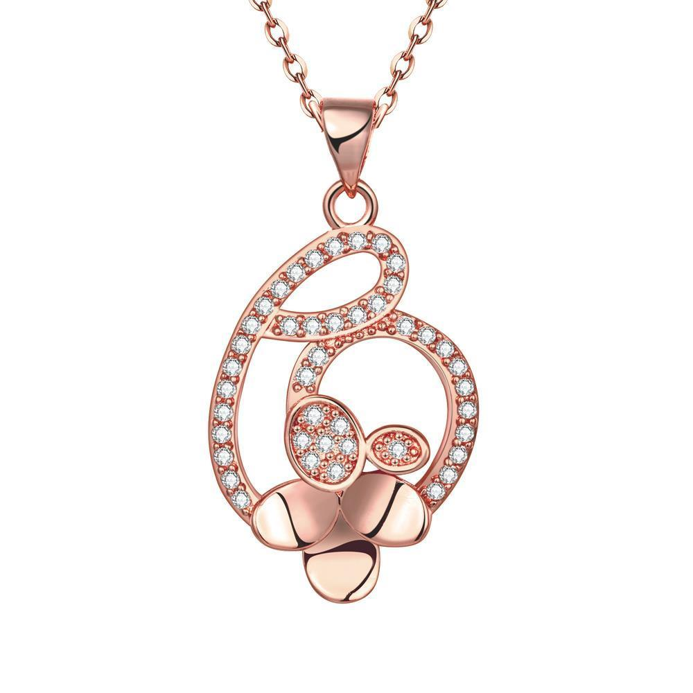 Vienna Jewelry Rose Gold Plated Interlined Heart Necklace