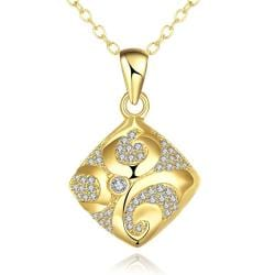 Vienna Jewelry Gold Plated Sophistacted Rhombus Necklace - Thumbnail 0