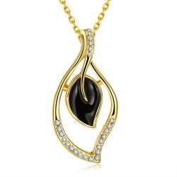 Vienna Jewelry Gold Plated Petite Onyx Petals Necklace - Thumbnail 0