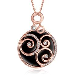 Vienna Jewelry Rose Gold Plated Spiral Onyx Pendant Necklace - Thumbnail 0