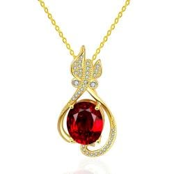 Vienna Jewelry Gold Plated Petite Butterfly Ruby Necklace - Thumbnail 0