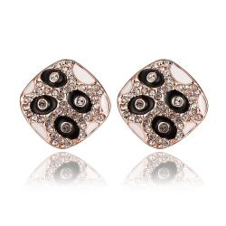 Vienna Jewelry 18K Rose Gold Petite Stud Earrings with Onyx Gems Made with Swarovksi Elements - Thumbnail 0