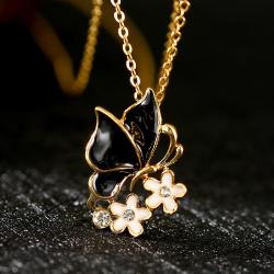 Vienna Jewelry Gold Plated Onyx Butterfly Ivory Floral Necklace - Thumbnail 0
