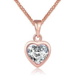 Vienna Jewelry 18K Rose Gold Plated Pure White HeartNecklace - Thumbnail 0