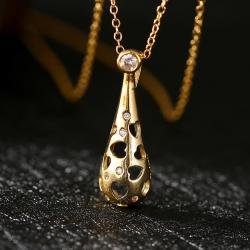 Vienna Jewelry Gold Plated Laser Cut Hollow Pendant Necklace - Thumbnail 0