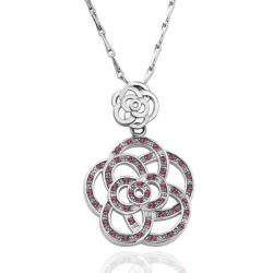 Vienna Jewelry White Gold Plated Large Clover Inspired Ruby Encrusted Neckace - Thumbnail 0